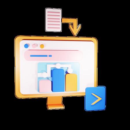 File uploading to system 3D Illustration