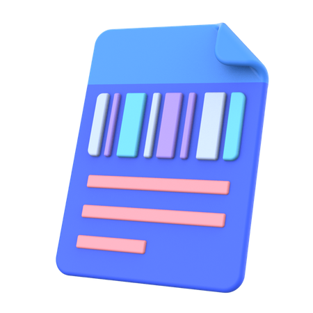 File with qrcode 3D Illustration