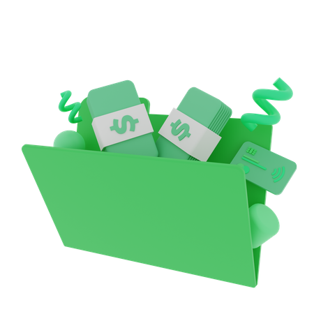 Finance Folder filled with money and a credit card 3D Illustration