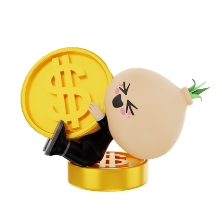 Financier kid playing with coins 3D Illustration