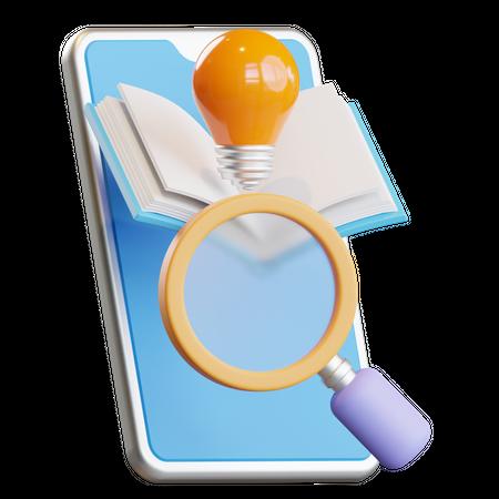 Finding Information 3D Illustration
