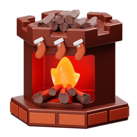 Fireplace 3D Illustration