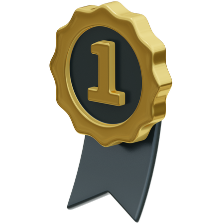 First Place Badge 3D Illustration