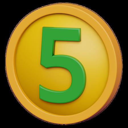 Five Coin 3D Illustration