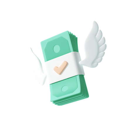 Flying cash with wings 3D Illustration