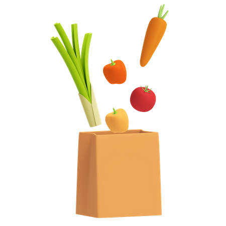 Food with handbag 3D Illustration