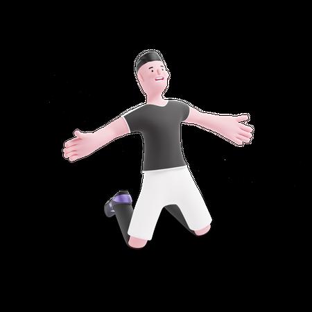 Football Player doing celebration of goal 3D Illustration