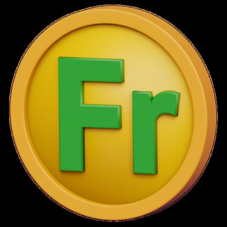 Franc Coin 3D Illustration