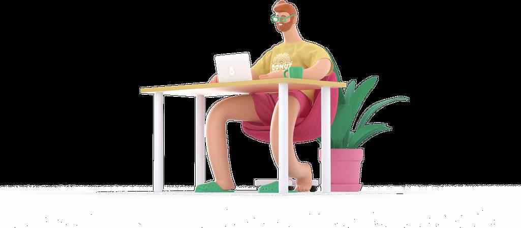 Freelancer working 3D Illustration