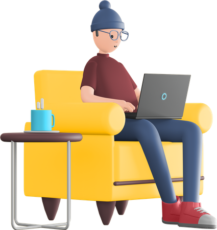 Freelancer working from home 3D Illustration
