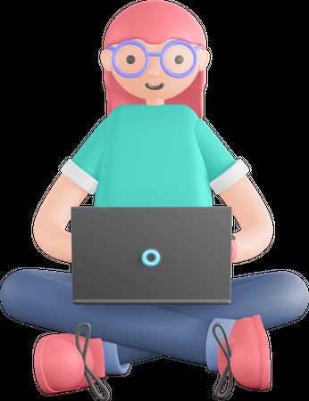 Freelancer working on laptop 3D Illustration