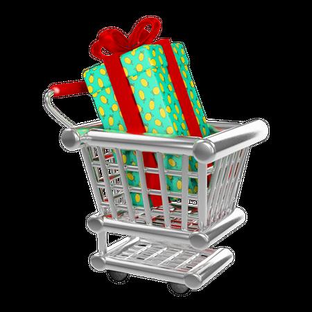 Gift added in cart 3D Illustration