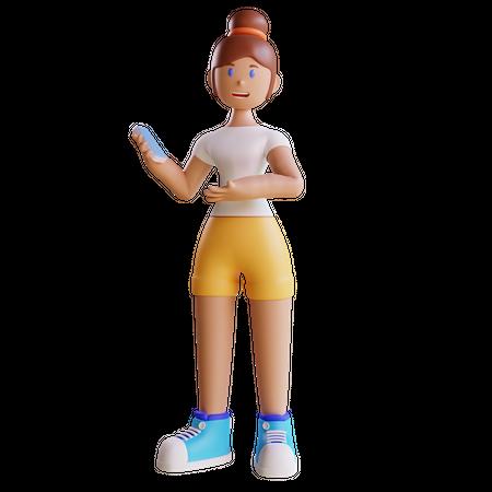 Girl doing mobile advertisement 3D Illustration
