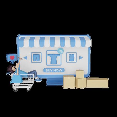 Girl doing online shopping 3D Illustration