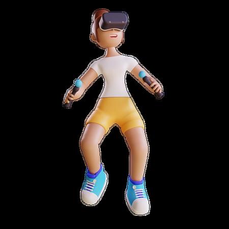Girl enjoying Virtual Reality 3D Illustration