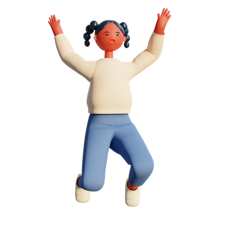 Girl jumping in the air 3D Illustration