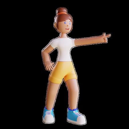 Girl Pointing at something 3D Illustration