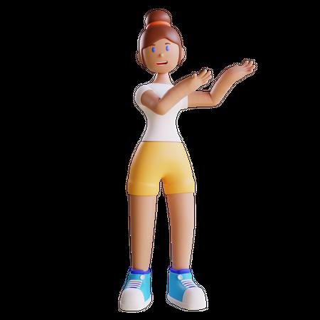 Girl presenting something 3D Illustration
