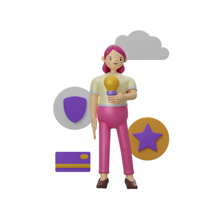 Girl with business idea 3D Illustration