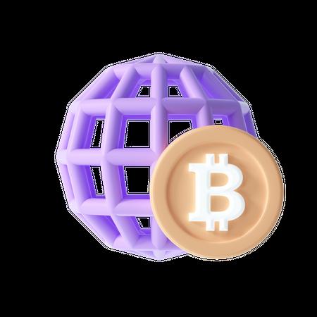 Global Cryptocurrency exchange 3D Illustration