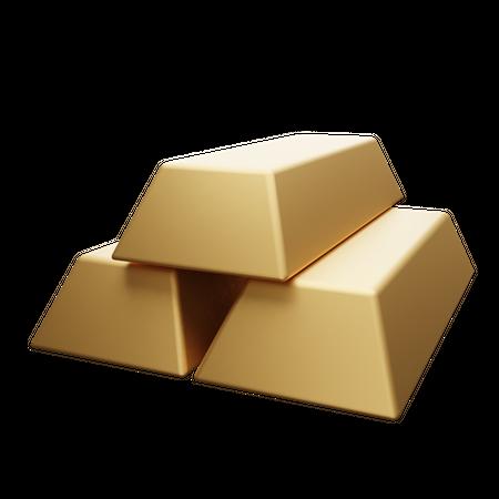 Gold Bars 3D Illustration