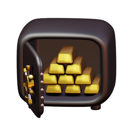 Gold Vault 3D Illustration