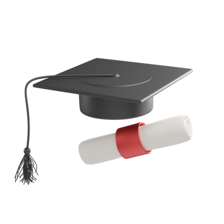 Graduation Hat And Certificate 3D Illustration