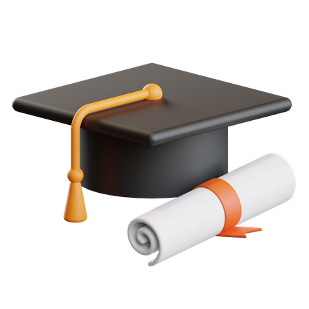 Graduation Hat With Certificate 3D Illustration