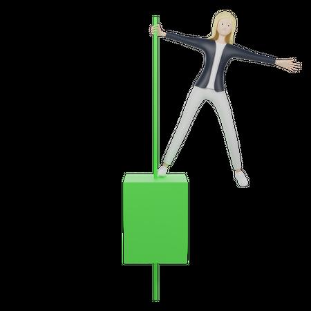 Green Candlestick 3D Illustration