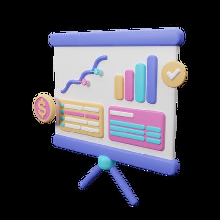 Growth chart 3D Illustration