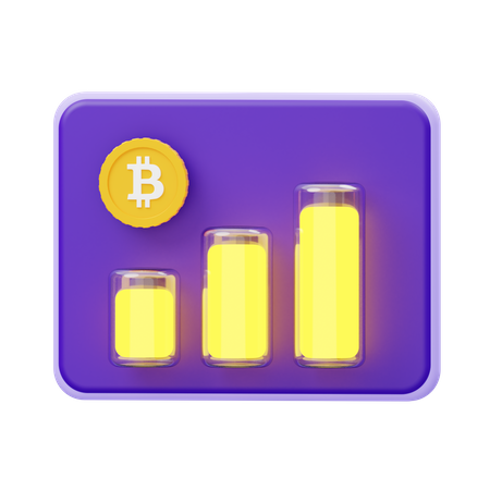 Growth in bitcoin 3D Illustration