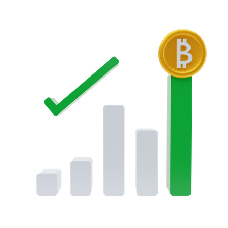 Growth in bitcoin pricing 3D Illustration