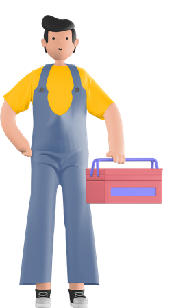 Guy with toolbox 3D Illustration
