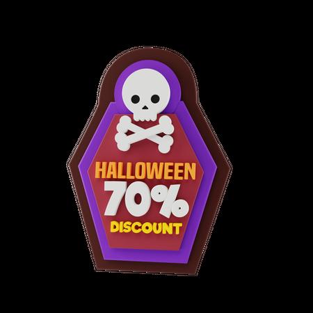 Halloween Discount 3D Illustration