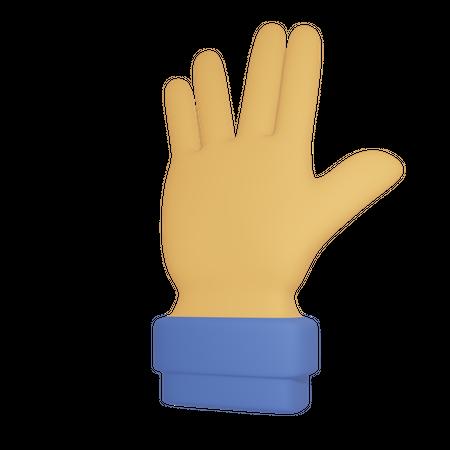 Hand gesture 3D Illustration