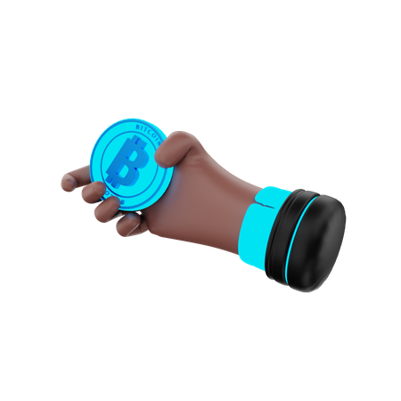 Hand Hold Bitcoin 3D Illustration