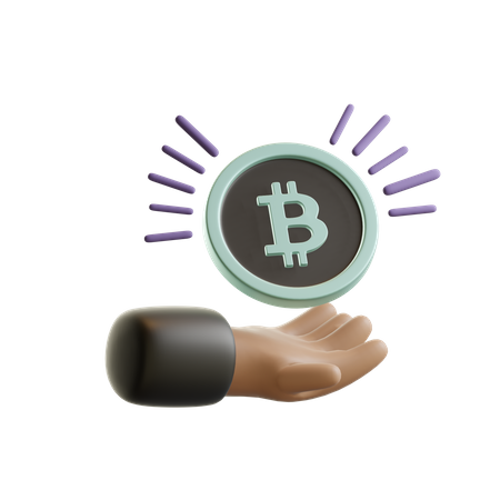 Hand holding bitcoin 3D Illustration