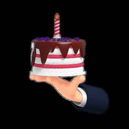 Hand Holding Cake 3D Illustration