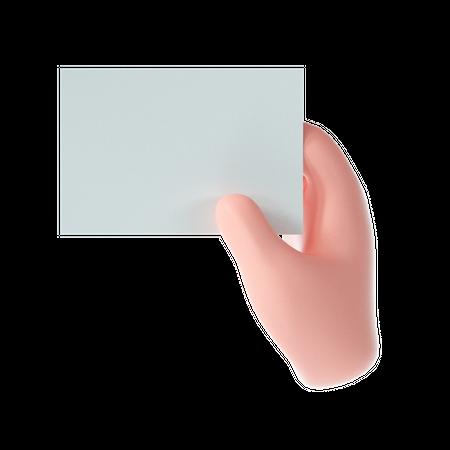 Hand holding paper 3D Illustration