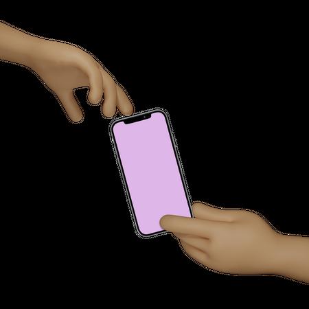 Hand Holding Smartphone for advertising 3D Illustration