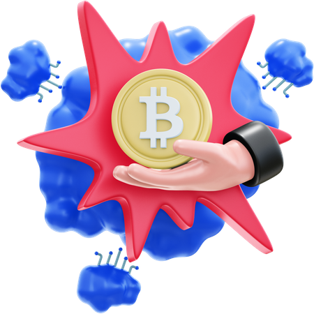 HAND WITH BITCOIN 3D Illustration