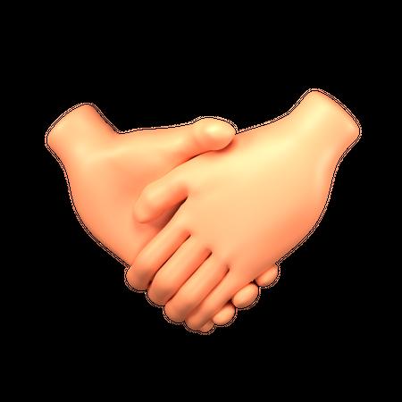 Handshake hand gesture 3D Illustration
