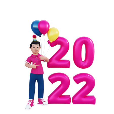 Happy New Year 2022 3D Illustration