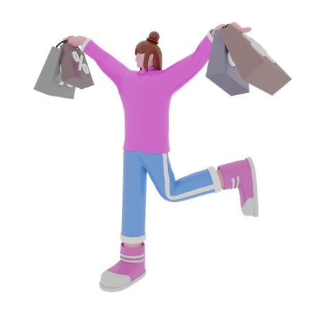 Happy woman with handbag 3D Illustration