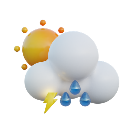 Heavy Drizzle Day And Lightning 3D Illustration