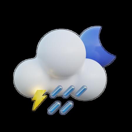 Heavy Rain Night 3D Illustration