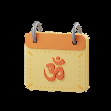 Hindu Calendar 3D Illustration