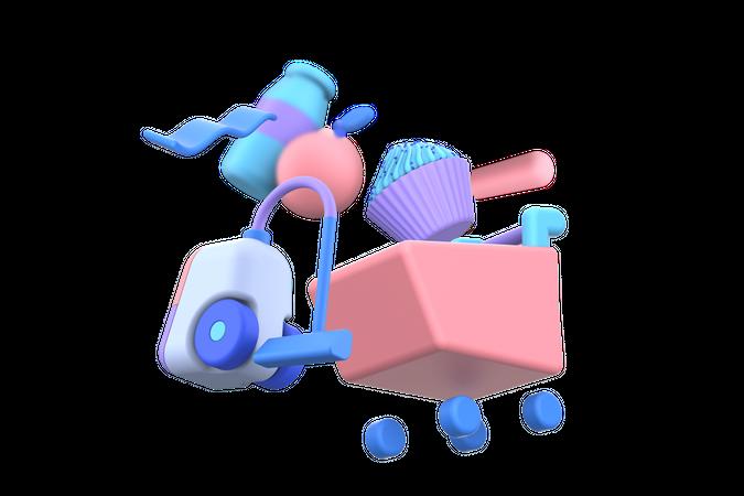 Household Shopping 3D Illustration