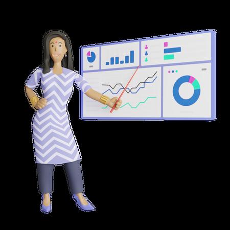 Indian business woman giving presentation 3D Illustration