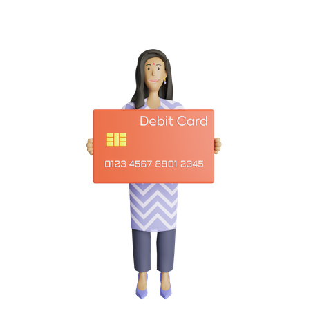 Indian business woman holding debit card 3D Illustration